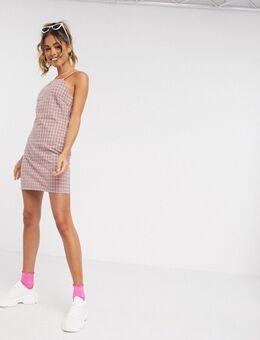 Elegante cami-jurk met vierkante hals in roze en grijs met ruit