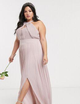 Lange exclusieve geplooide bruidsmeisjesjurk in roze