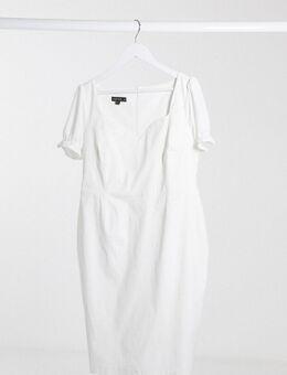 Midi-jurk met pofmouwen in wit