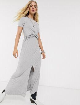 Maxi-jurk met gedraaide voorkant in gemêleerd grijs