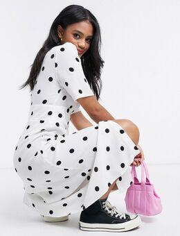 Midi-jurk met doorlopende knopen en stippenprint-Wit