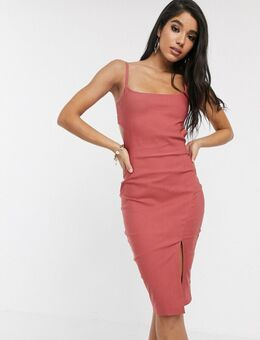 Midi-jurk met camibandjes, uitsnijding en vintage roze