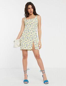 Mini-jurk met bloemenprint en dijsplit-Geel