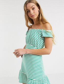 ASOS DESIGN Tall - Exclusieve schouderloze gestreepte mini-zonnejurk in groen en wit-Multi