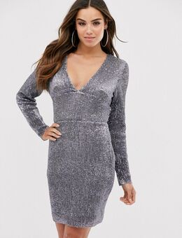 Diepuitgesneden mini-jurk met open achterkant-Zilver