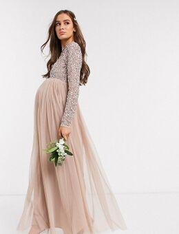 Lange tule jurk voor bruidsmeisjes met bovenlaag van delicate lovertjes in dezelfde kleurschakering in taupe-Bruin