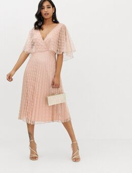 Midi-jurk met fladdermouwen en plooirok in kant-Beige