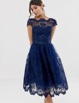 - Premium kanten midi-jurk met kapmouwtjes in marineblauw