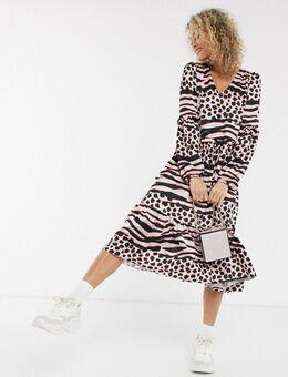 Aangerimpelde lange jurk met verlaagde zoom en contrasterende dierenprint-Multi