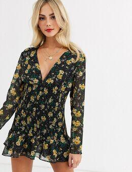 Stardust - Mini-jurk met lange mouwen en bloemenprint-Multi