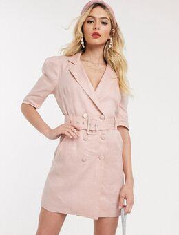 Smoking-jurk in linnenlook in roze