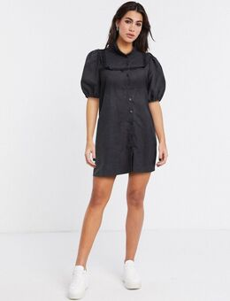 Aangerimpelde jurk met pofmouwen-Zwart