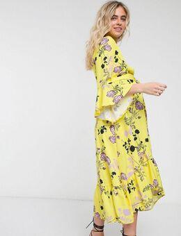 Maternity - Midi-jurk met overslag aan de voorkant en contrasterende bloemenprint-Multi