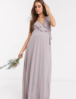 TFNC - Zwangerschapskleding- Lange jurk voor bruidsmeisjes met ruchedetail en split in grijs
