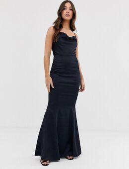 Lange jurk met gedrapeerde halslijn in marineblauw