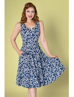50s Mina Swing Dress in White and Navy