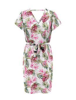 Gebloemde jurk Nova wit/roze/groen