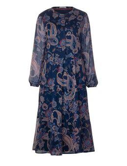Semi-transparante jurk met paisleyprint donkerblauw
