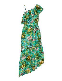 One-shoulder jurk met rush en bloemprint