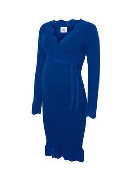 Ribgebreide zwangerschapsjurk Neweva met ceintuur blauw