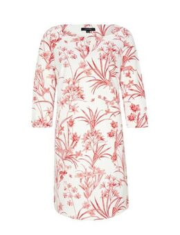 Jersey jurk met all over print wit/rood