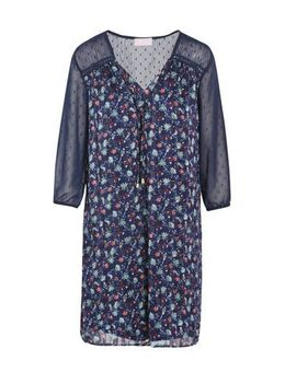 Gebloemde semi-transparante jurk marineblauw