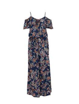 Offshoulder jurk met rush en paisleyprint