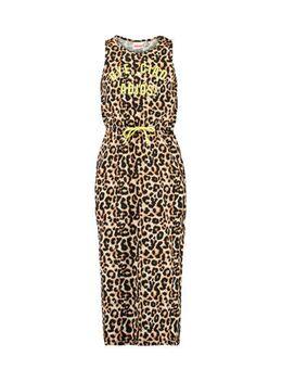 Maxi jurk Dacy met panterprint geel/bruin/zwart