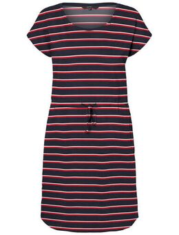 Gestreepte jersey jurk donkerblauw/rood