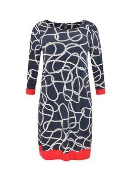 A-lijn jurk Sailor met contrastbies marine/multi