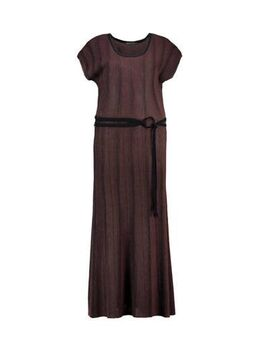 Maxi jurk met ceintuur aubergine/zwart