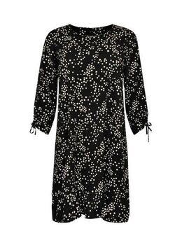 Jersey jurk met stippen zwart/wit