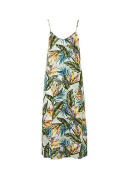 Geweven viscose jurk met bladprint