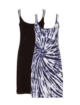 Set van 2 katoenen strandjurkjes, met Tie dye blauw