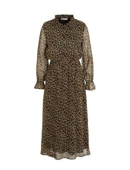 Semi-transparante jurk Ivana met panterprint en ruches beige