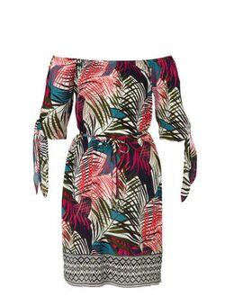 Off shoulder jurk met tropische print