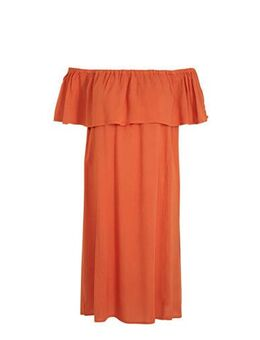 Off shoulder jurk Marrakech oranje