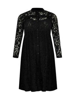 Kanten blousejurk met kant zwart