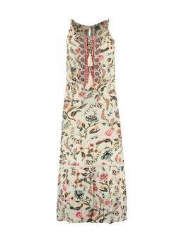 Maxi jurk met all over print ecru/multi