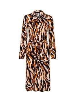 Regulier jurk met all over print bruin