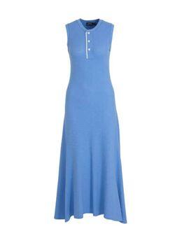 Ribgebreide maxi jurk Rowie en plooien blauw