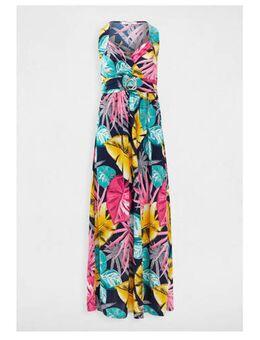 Maxi jurk met bladprint marine/ roze