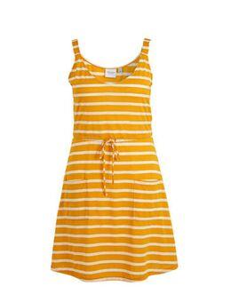 Gestreepte jersey jurk geel/wit
