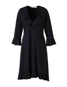 Jersey jurk met volant zwart