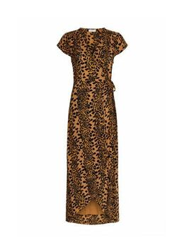 Maxi jurk met dierenprint geel/zwart