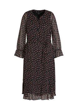 Gebloemde semi-transparante maxi jurk zwart/multi