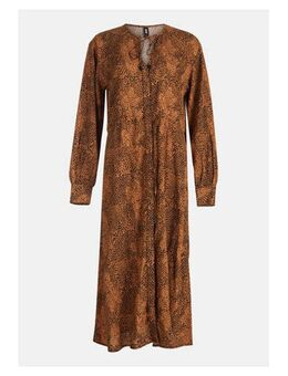 Gebloemde jurk camel