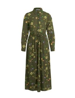 Gebloemde maxi blousejurk groen/multi