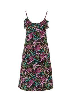 Jersey jurk met bladprint en volant zwart/groen/roze