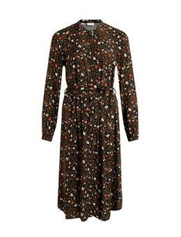 Maxi jurk met all over print en plooien zwart